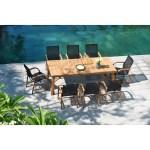 Life Style Garden 9 Piece Teak Patio Dining Set Black Chairs Overstock 30997399