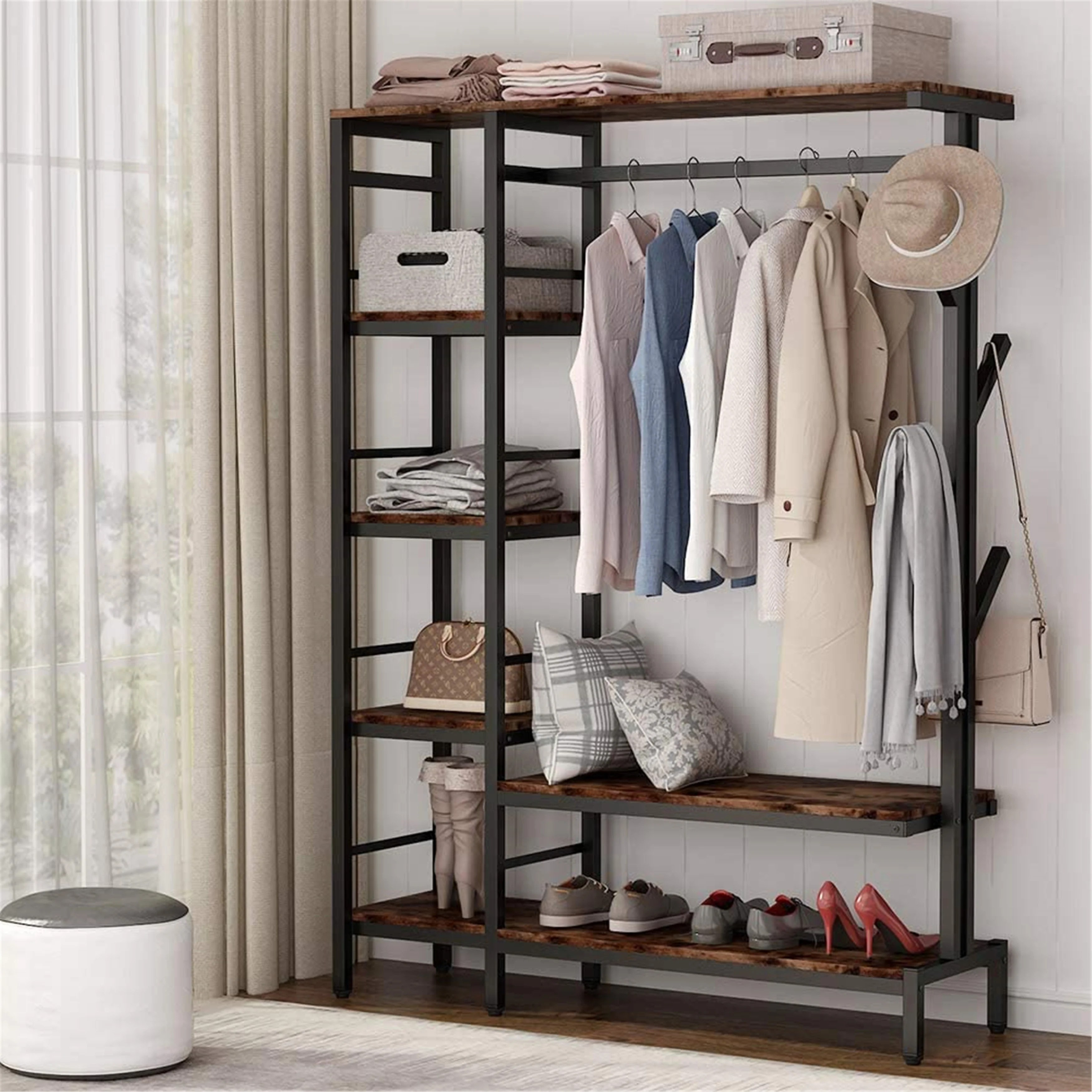 free standing closet organizer with hooks garment rack with shelves and hanging rod rustic brown