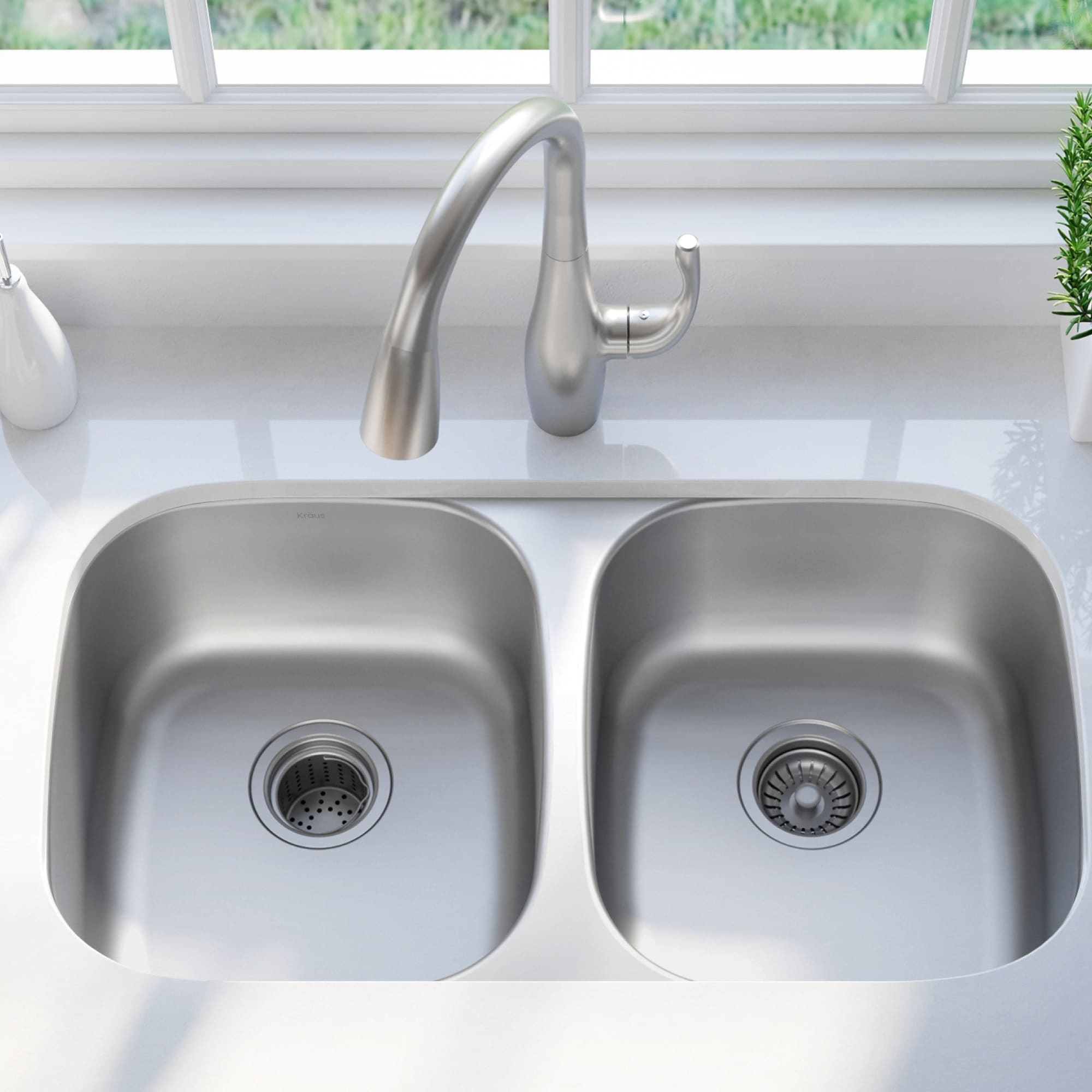 kraus premier stainless steel 32 inch 2 bowl undermount kitchen sink