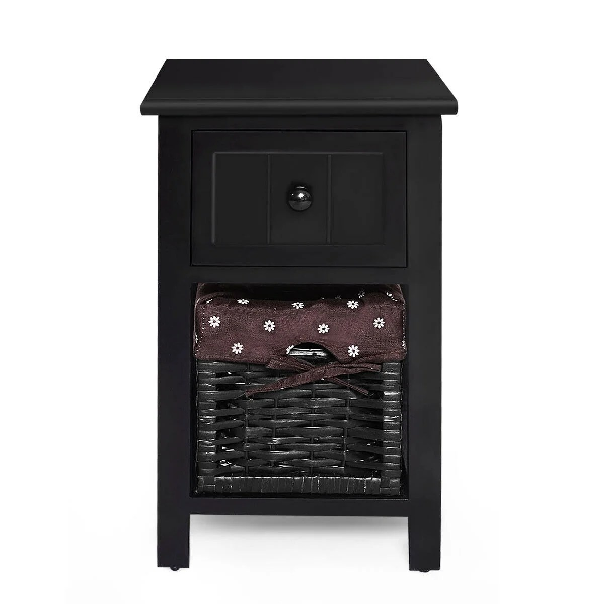 Gymax 2 Tier Mini Nightstand 1 Drawer Bedside End Table Organizer Wood W Basket Black