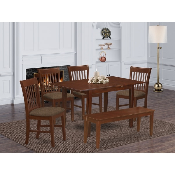 Psno6c Mah 4 Chair And Dining Bench 6 Piece Dining Table Set