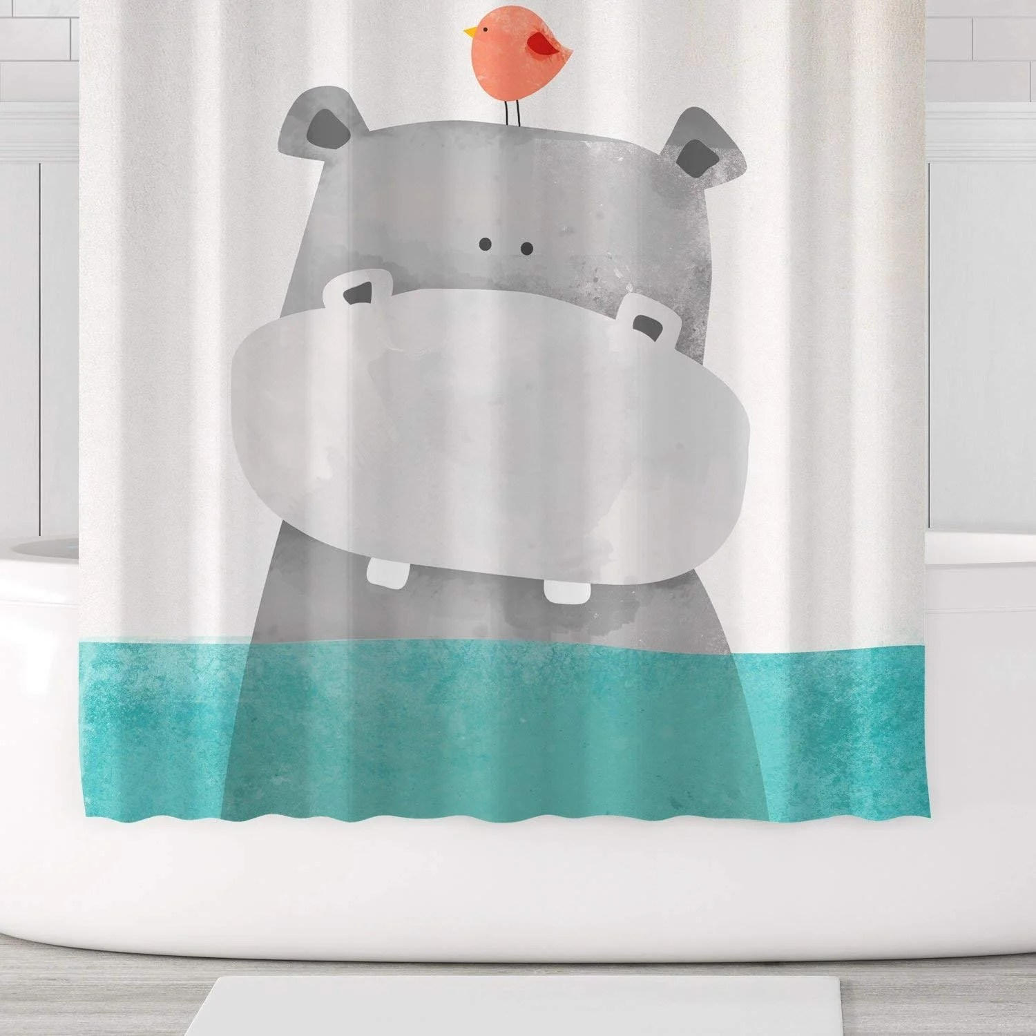 cute hippo shower curtain polyester fabric with hooks 71x71 green grey multi color