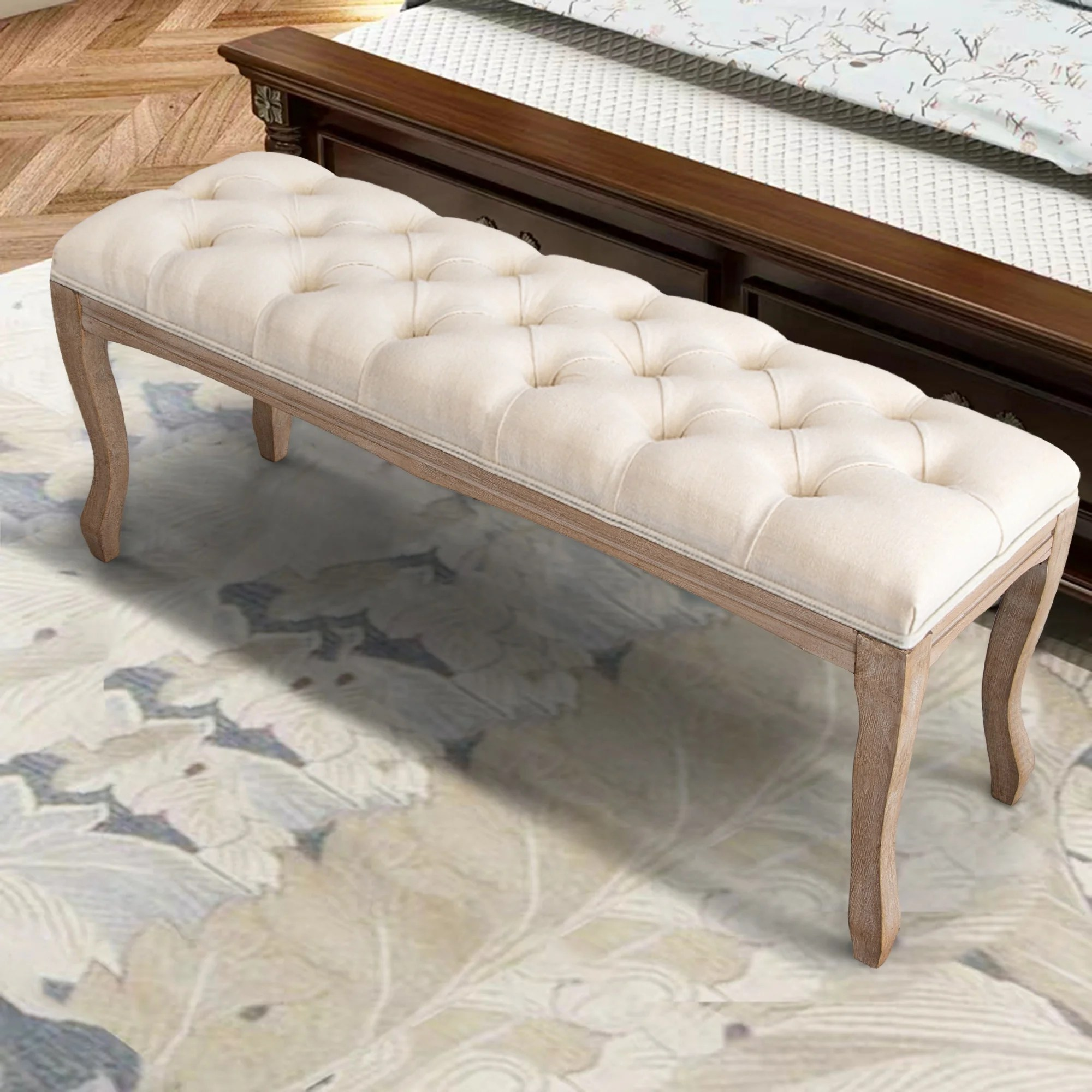 wood bed bench upholstered ottoman tufted bench for bedroom entryway 43 31 l x 14 96 w x 18 90 h
