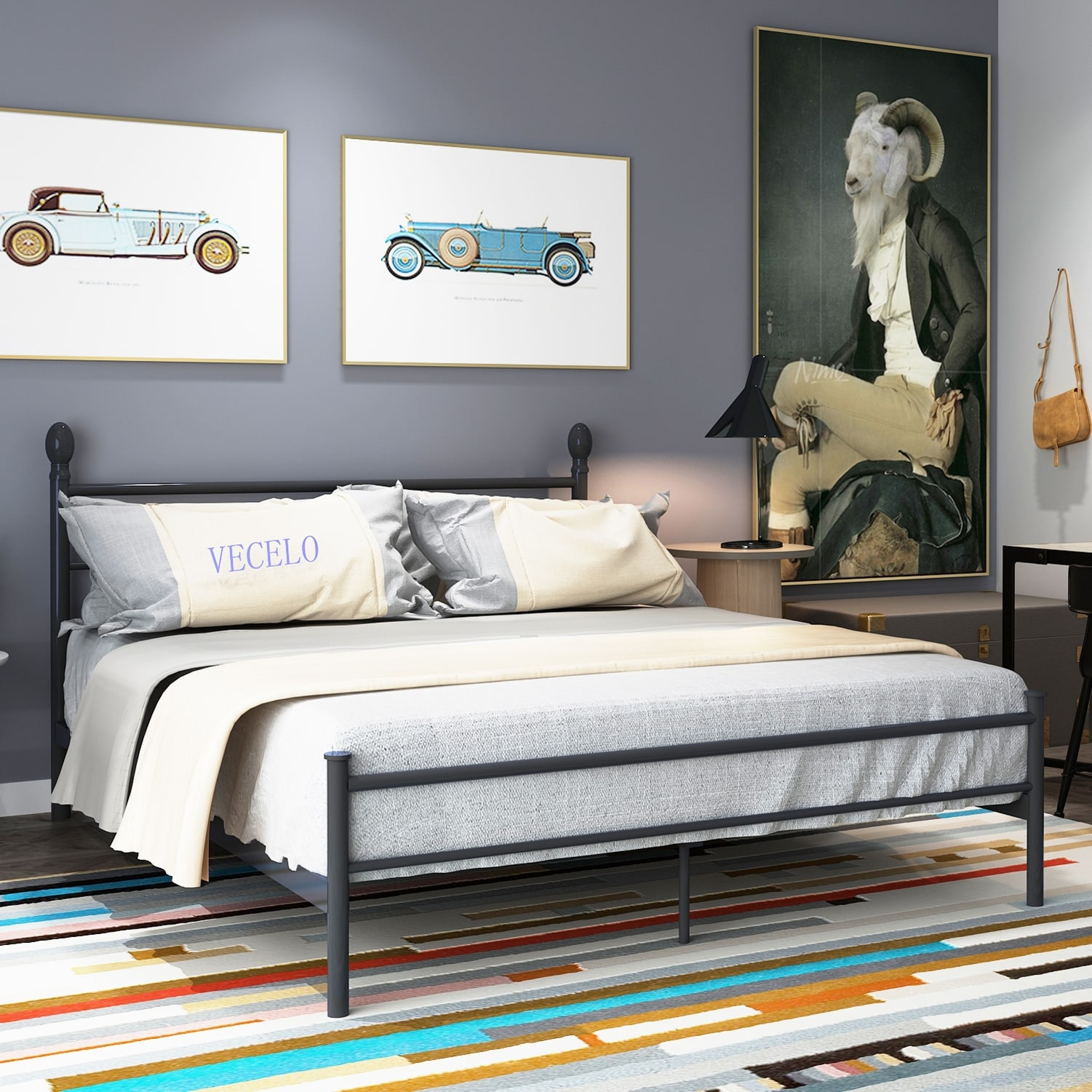 Vecelo Platform Bed Frame Metal Bed With Headboard And Footboard Twin Full Queen King Size On Sale Overstock 13047274