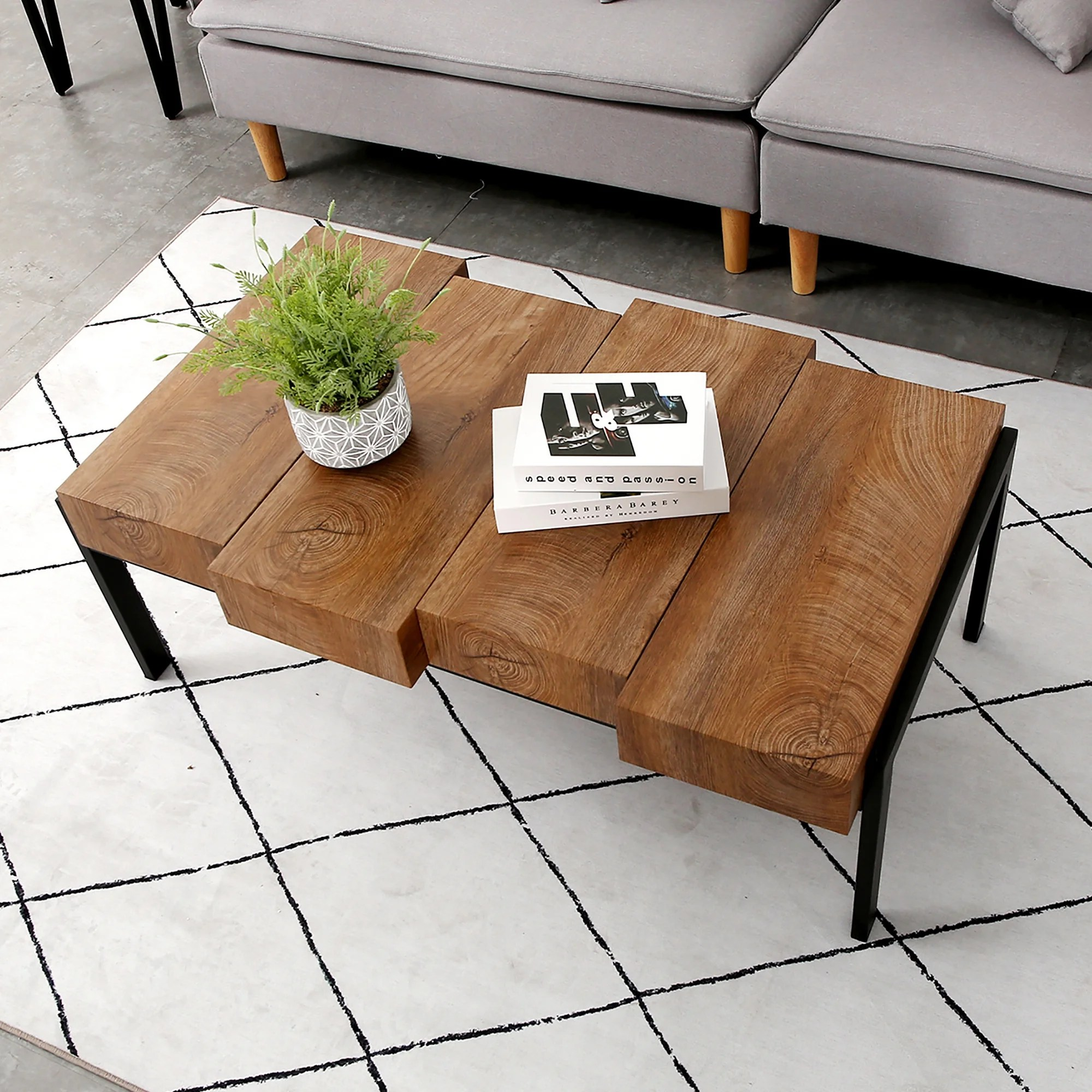 modern mid century coffee table for living room rustic wood rectangular coffee table accent table metal frame