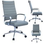Shop Black Friday Deals On Mid Century Modern Ergonomic Executive Office Chair Mid Back With Arms Pu Leather Tilt Adjustable Height Wheels Swivel Gray Overstock 26234548