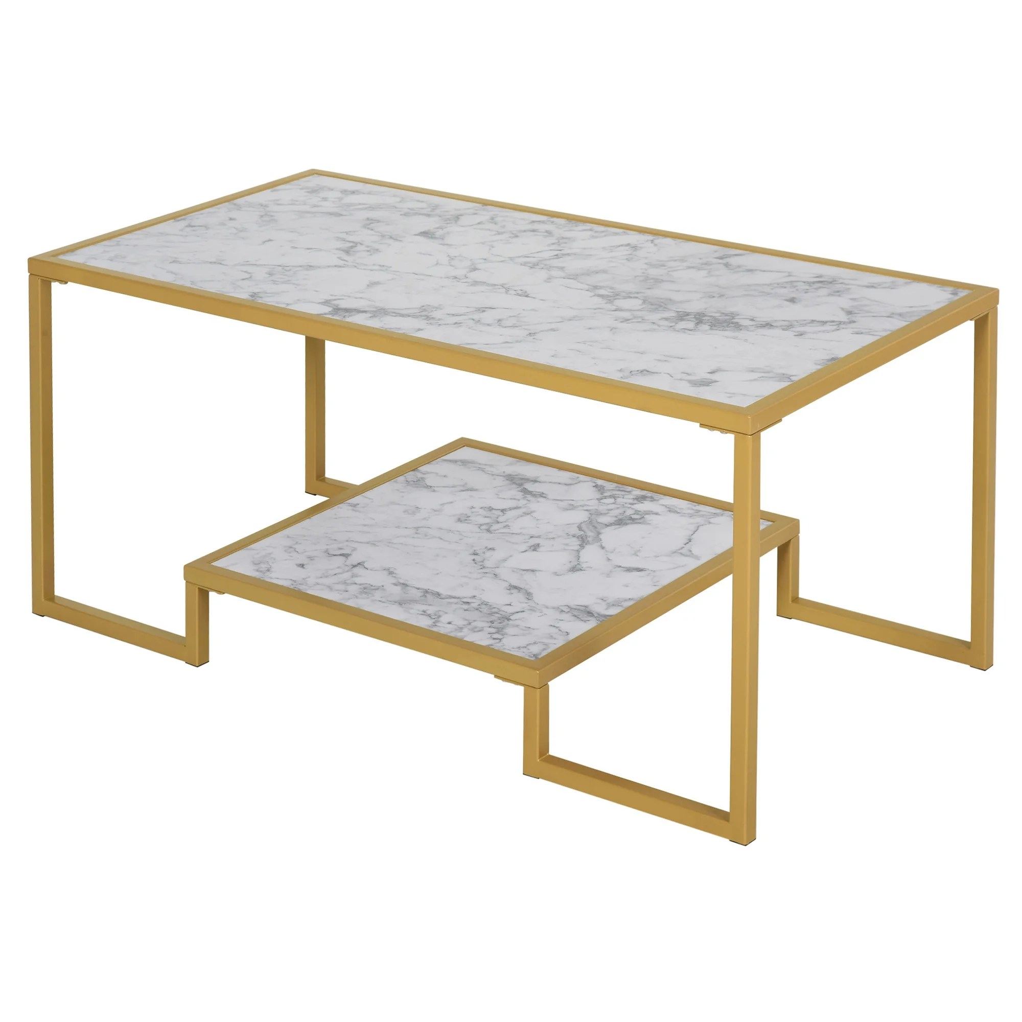 homcom minimalist art deco coffee table with a modern marble texture tabletop storage with underneath shelf white