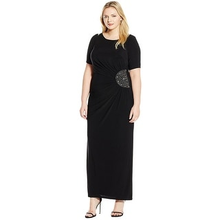 Xscape Dresses   Find Great Women s Clothing Deals Shopping at     Xscape Plus Size Short Sleeve Embellished Jersey Evening Gown Dress  Black Gunmetal   18W