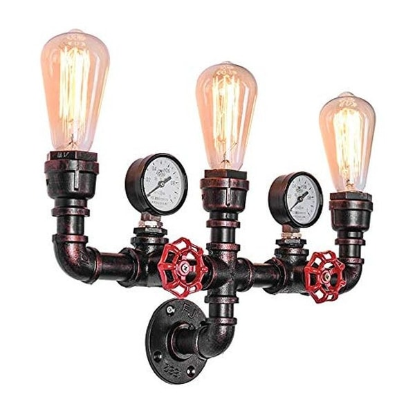 3 light water pipe rustic wall sconce industrial antique wall mounted wall lamp light with copper finish