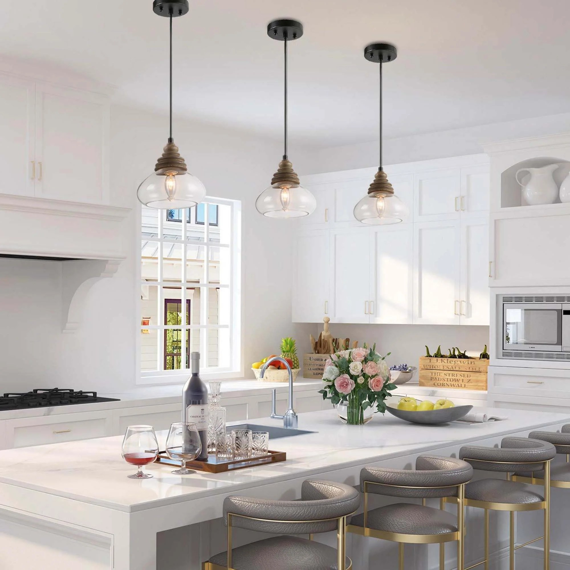 farmhouse 1 light wooden chandelier kitchen island pendant lighting with glass shade w7 5 xh7 5