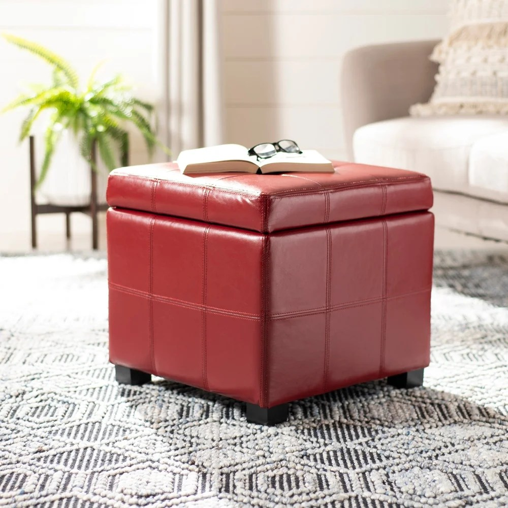 buy leather square ottomans storage