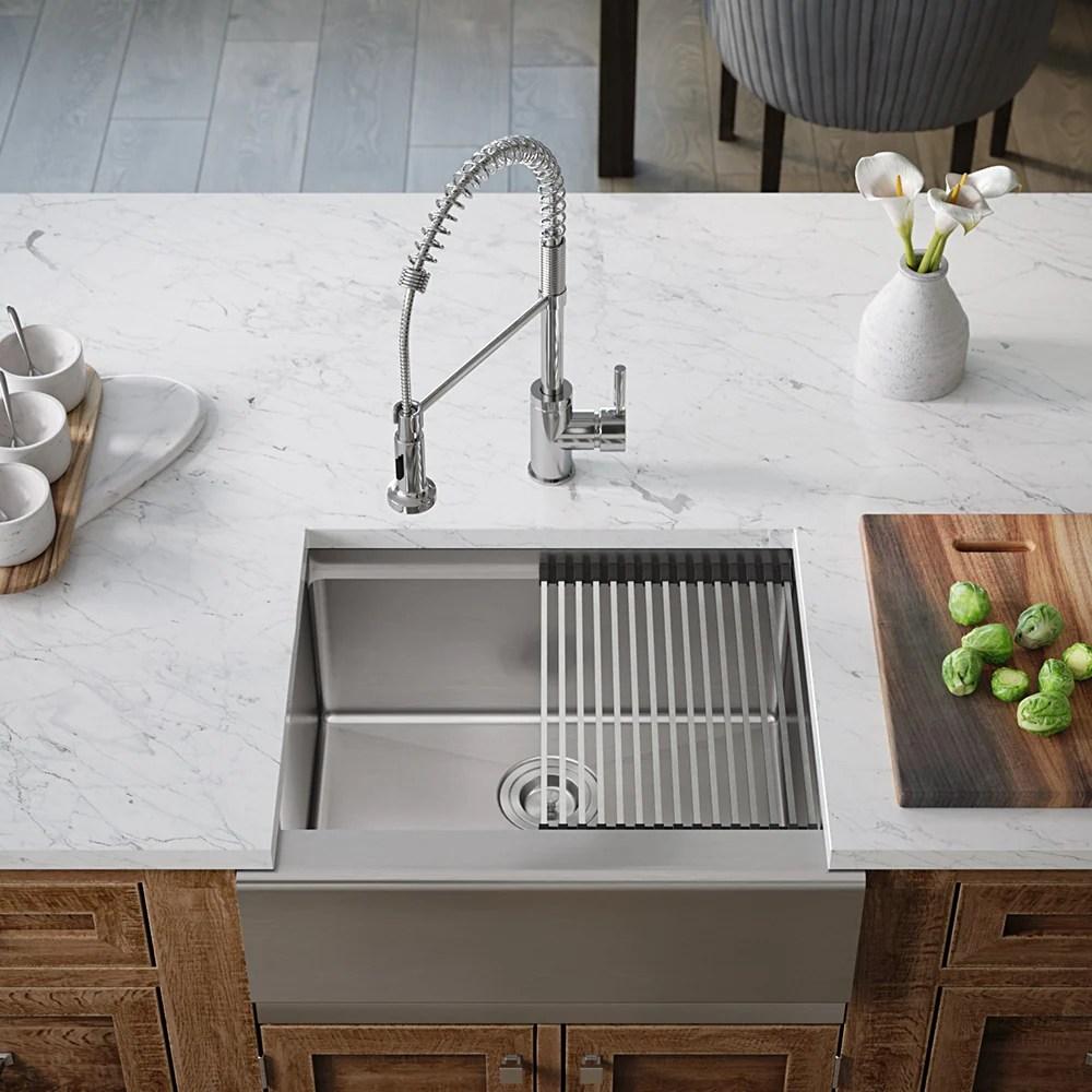 408 ledge single bowl stainless steel apron workstation sink