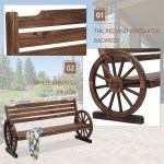 Kinbor Wood Wagon Wheel Bench 2 Person Seat Bench Yard Decorative Patio Garden Chair W Slatted Seat Backrest Rustic Style Overstock 32484599