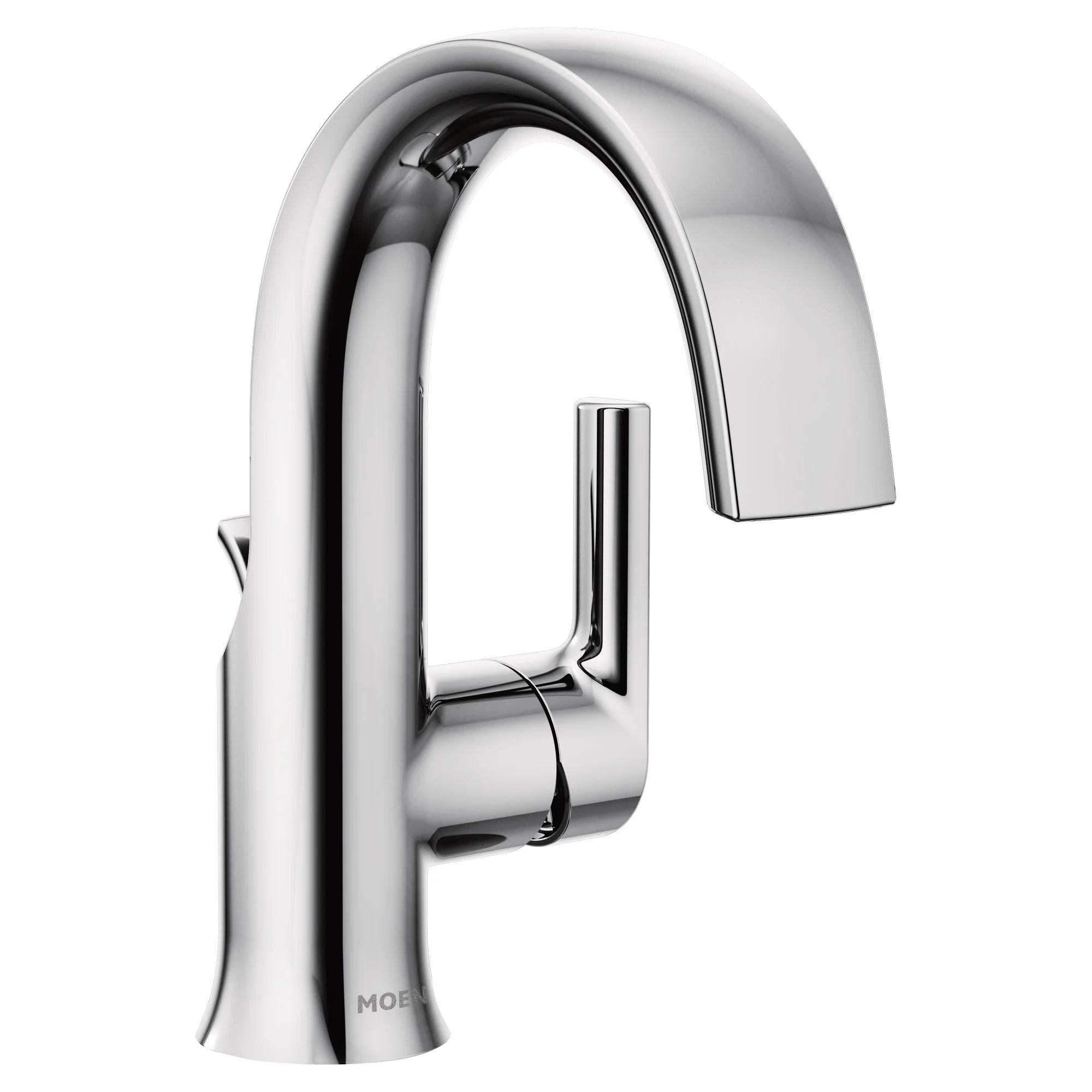 moen s6910 doux 1 2 gpm single hole bathroom faucet with pop up drain