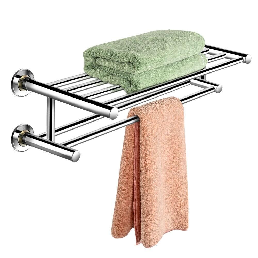 costway wall mounted towel rack bathroom hotel rail holder storage silver
