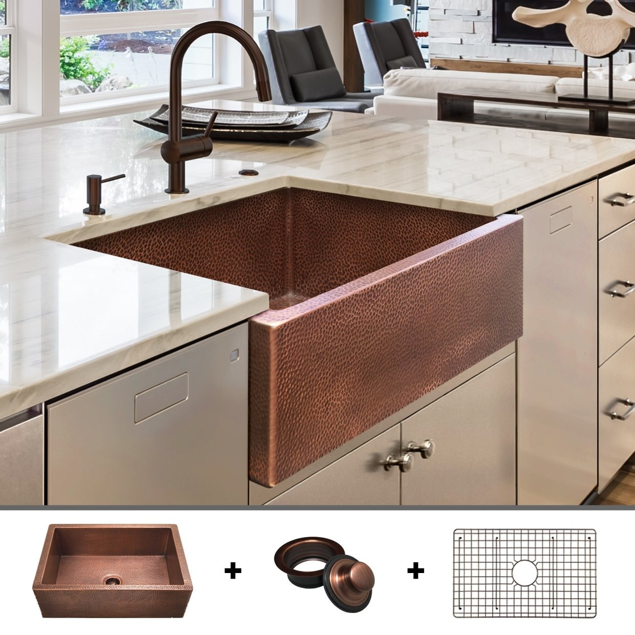 heavy 12 gauge luxury 30 inch copper farmhouse sink 48 lbs of pure copper includes grid and flange by fossil blu 30 x 22
