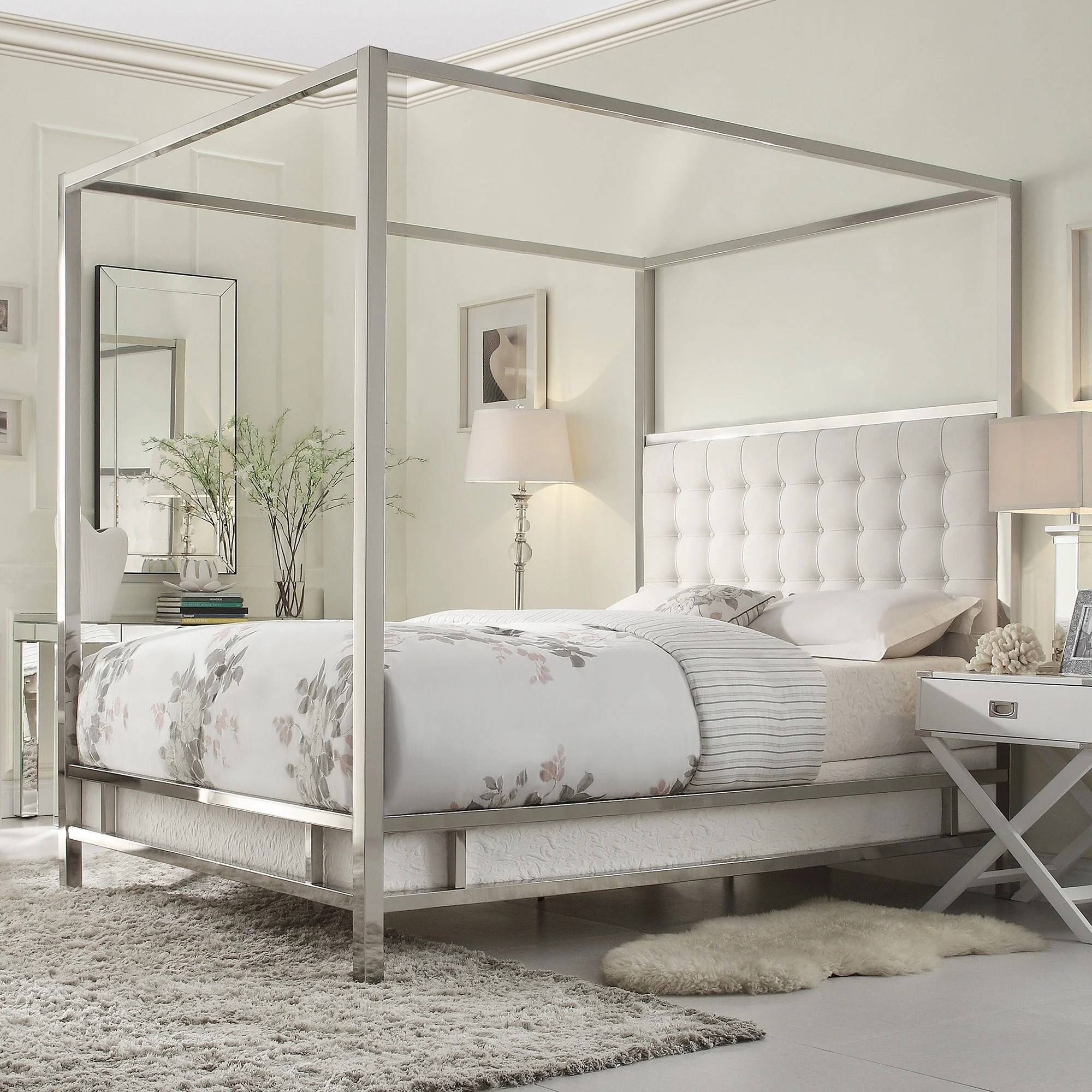 solivita king size canopy chrome metal poster bed by inspire q bold