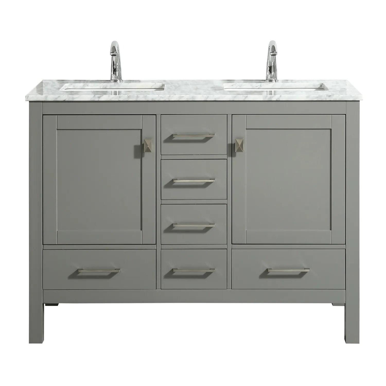 eviva london 48 x 18 gray transitional double sink bathroom vanity w white carrara top