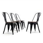 Belleze Stackable Bistro Dining Chairs Set Of 4 Wood Stool Black On Sale Overstock 22112611