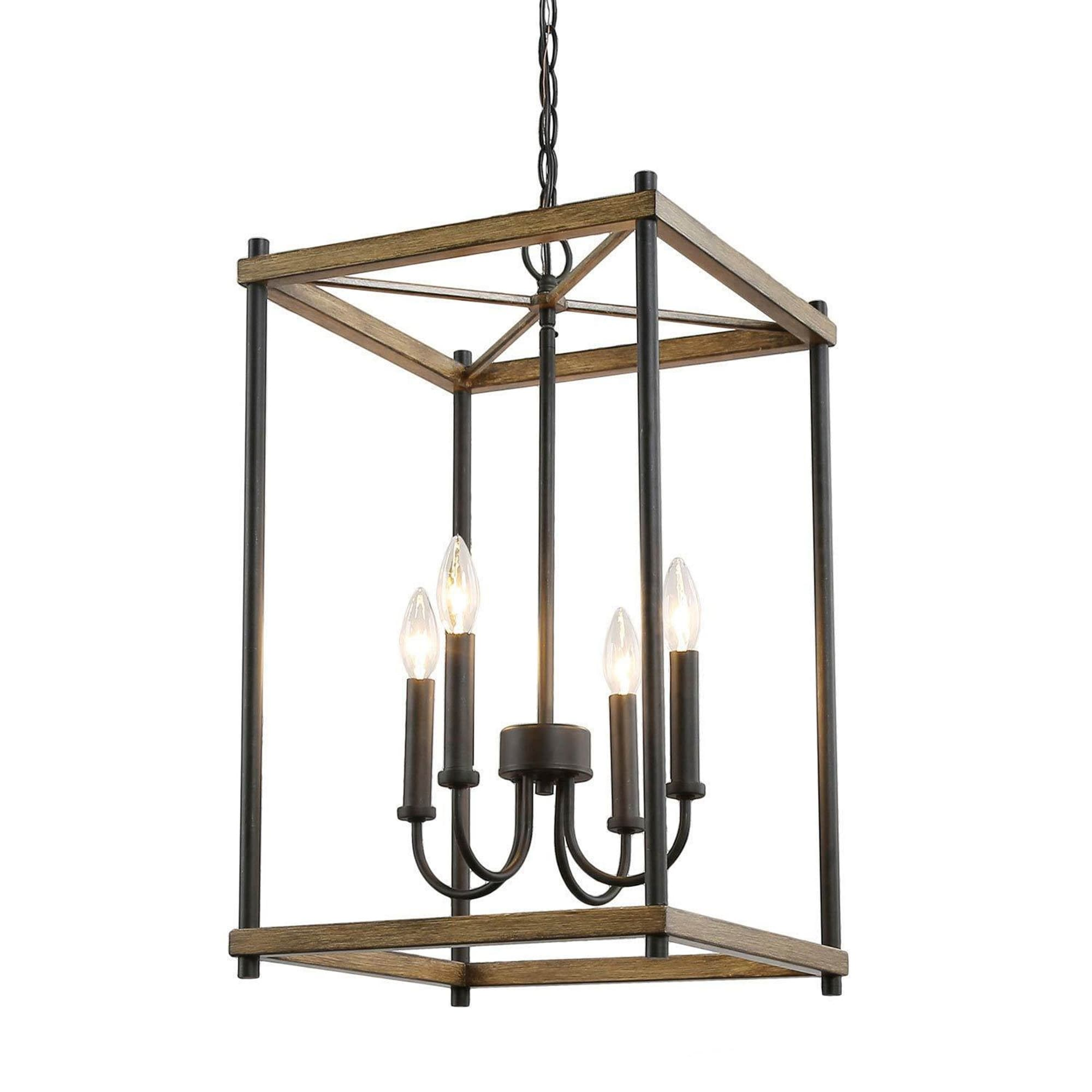 Modern Farmhouse 4 Lights Lantern Candle Chandelier Faux Wood Pendant Kitchen Island Lighting For Dining Room Overstock 30722022