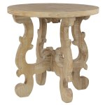 Shop Black Friday Deals On Small Round Reclaimed Wood End Table W Whitewash Finish And Scalloped Base 26 X 25 5 26 X 26 X 26round On Sale Overstock 32066103