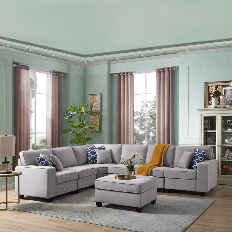 casanova 7 piece modular light gray sectional sofa grey