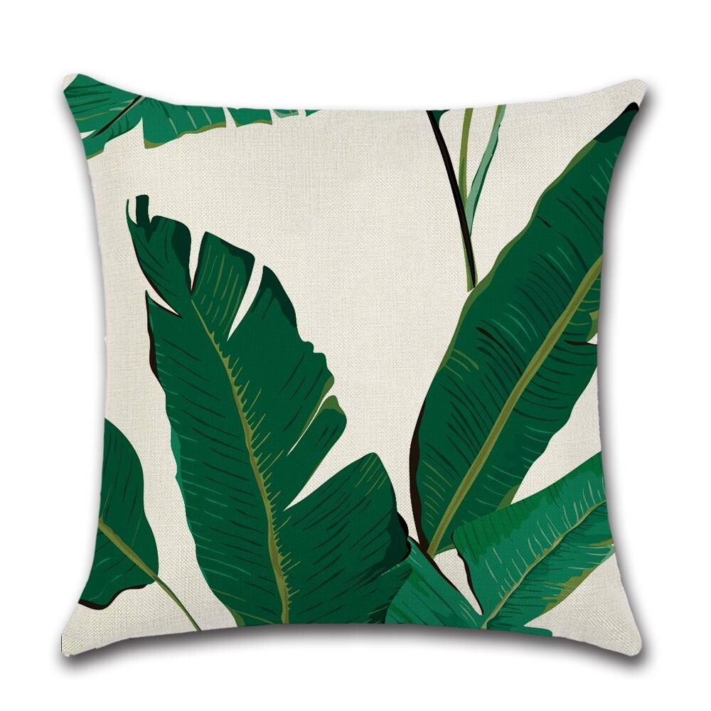 tropical throw pillows covers decorative palm plant leaf pillow case for outdoor patio couch chair fall home decor 18 x 18