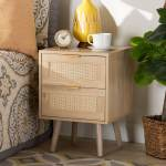 Baird Light Oak Brown Finished Wood And Rattan 2 Drawer Nightstand Overstock 32337601