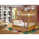 Odb 09 W Twin Bunk Bed Two Split Beds And Ladder With Four Steps And Guard Rails Twin Full Size Bed Natural Oak Finish Overstock 32084735