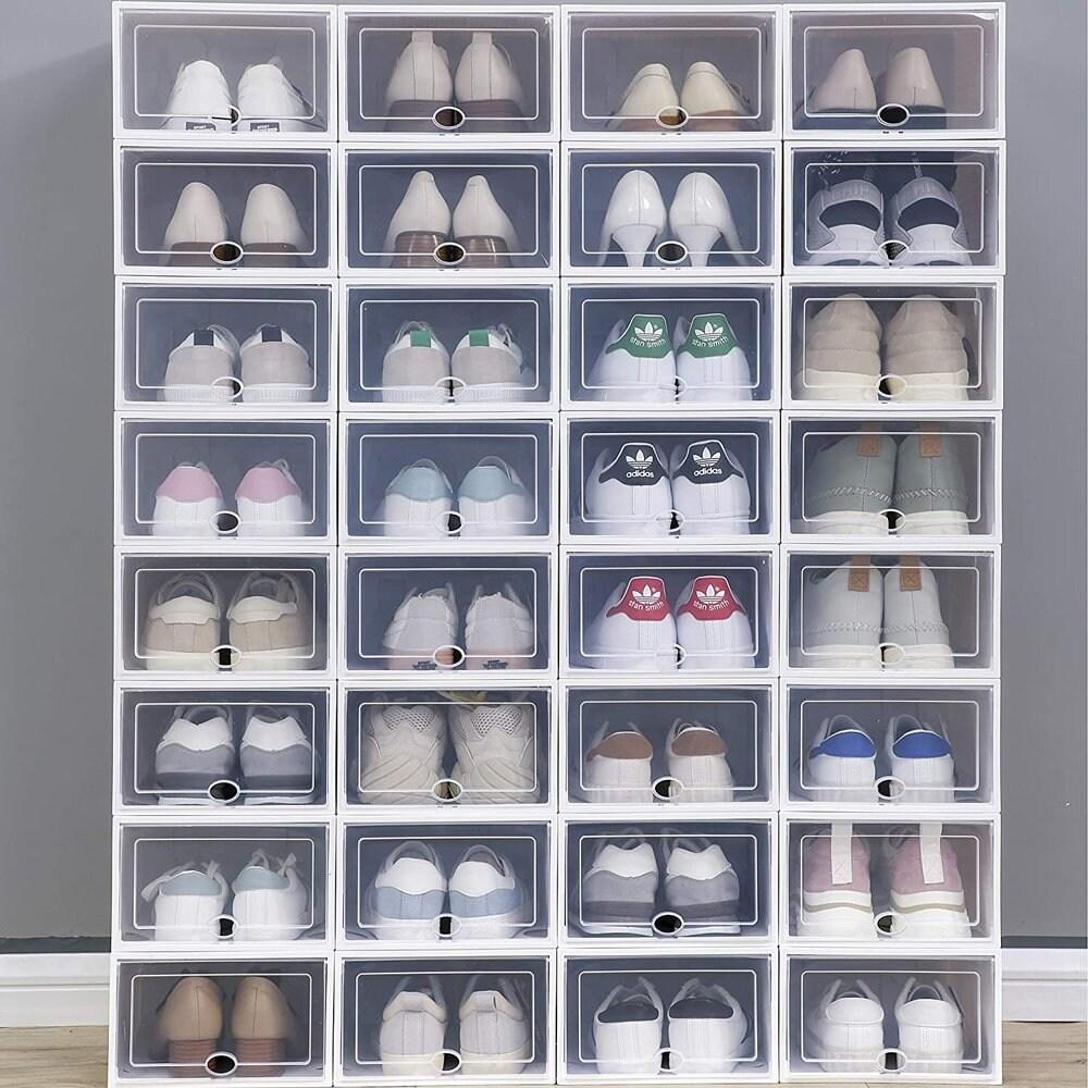 clear plastic stackable shoe storage boxes