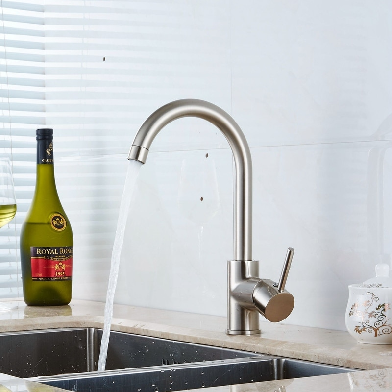 modern single handle kitchen sink faucet one hole chrome