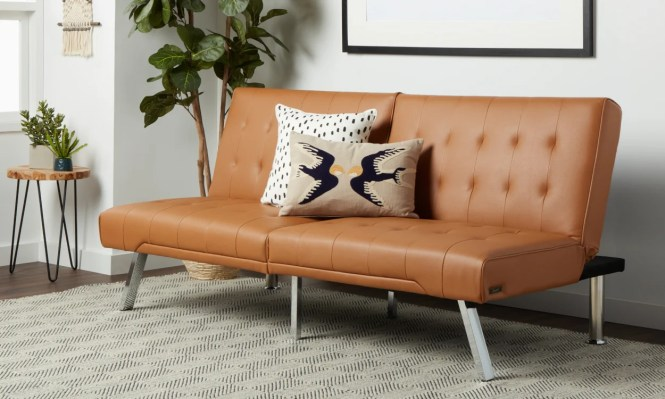 Tan Leather Futon In A Small E Living Room