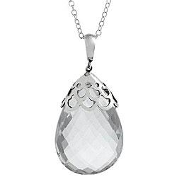 Marissa by Zoe B Sterling Silver Rock Crystal Teardrop Necklace