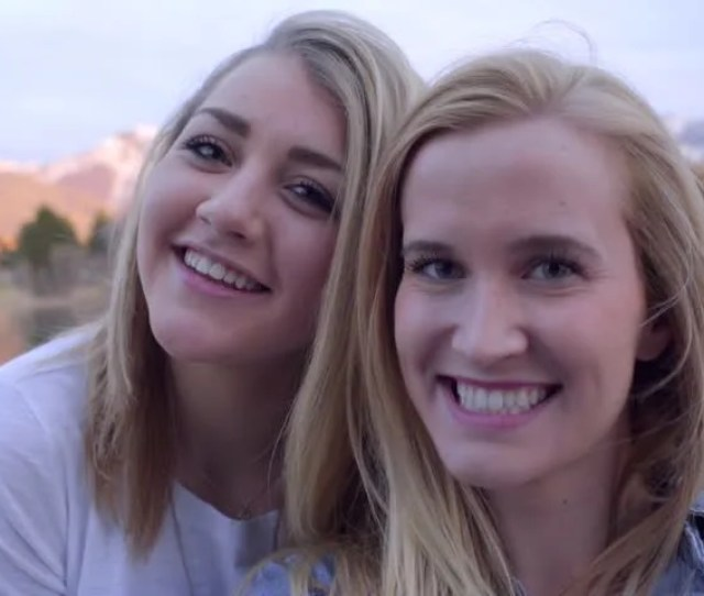 Fun Teen Girls Take Selfies Together Hold Camera As If It Were Smart Phone