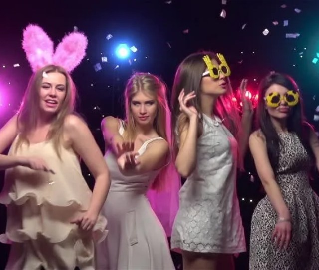 Girls At Bachelorette Party Dancing And Having Fun Slow Motion