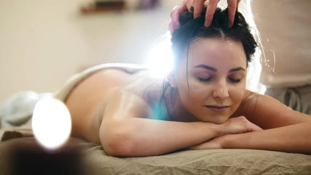 Massage Parlor Young Woman Gets Relaxing Healing Therapy For Head And Hair