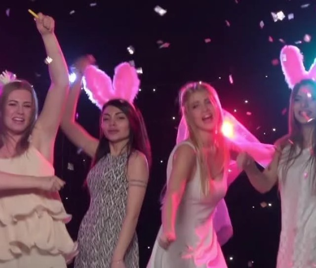 Girls At Bachelorette Party Dancing Throws Glitter Confetti Slow Motion