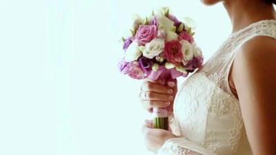 Young Bride with Wedding Bouquet Stock Footage Video (100% ...