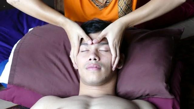 Guy Gets A Head Massage In Bangkok Thailand