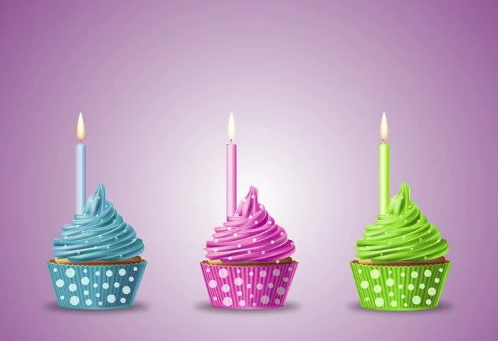 Three Birthday Cupcakes With Candle Stock Footage Video 100