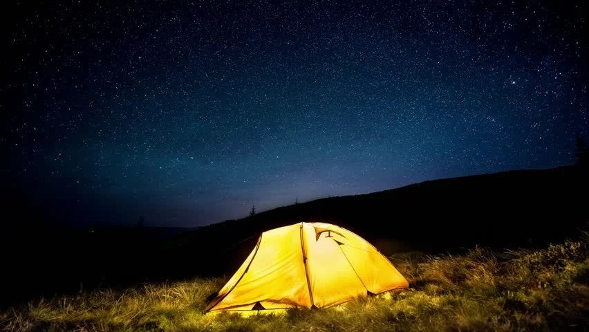 Time Lapse Glowing Camping Tent In Stock Footage Video