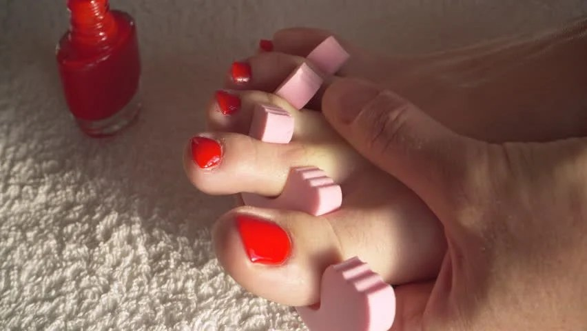 Closeup Woman Painting Nails Of Her Feet Applying Red Toenails Foot Pedicure Body Care 4k Stock Fooe 11045645 Shutterstock
