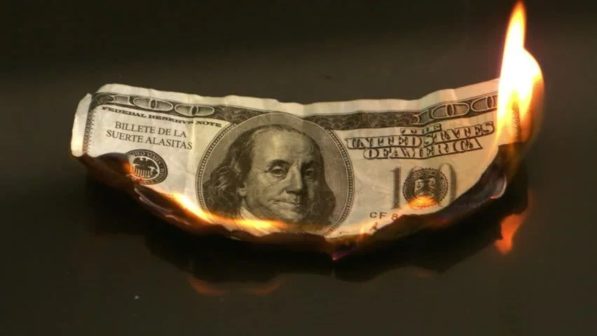 Image result for dollar burning