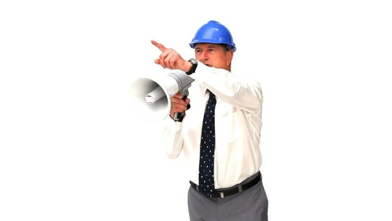Stock video of architect giving orders through a megaphone ...