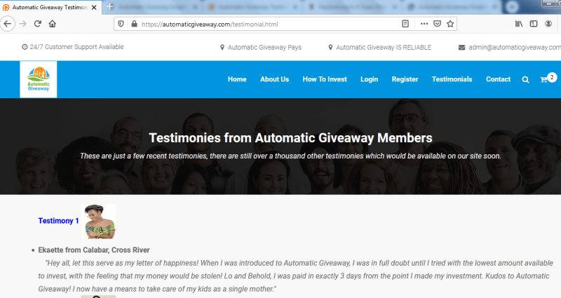 Automatic Giveaway Investment Testimonials Are Fake