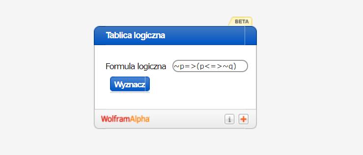 Kalkulator do tablic logicznych