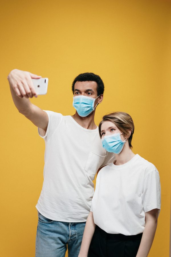 Man and woman taking a selfie