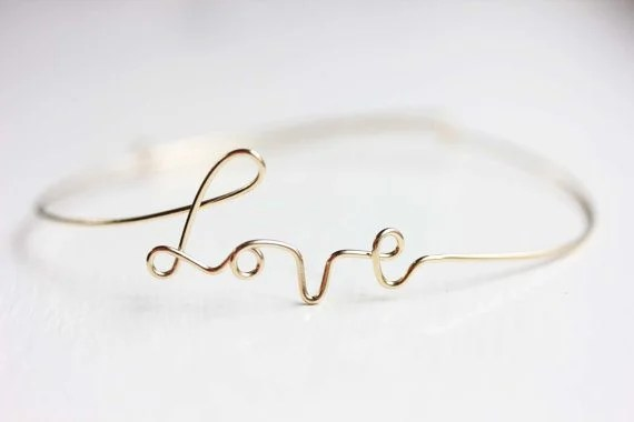 Gold Wire Love Bracelet