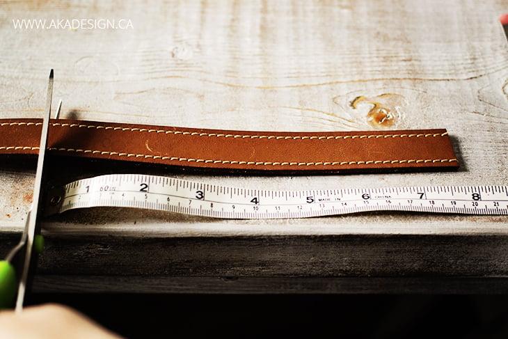 cut leather belt for bracelet