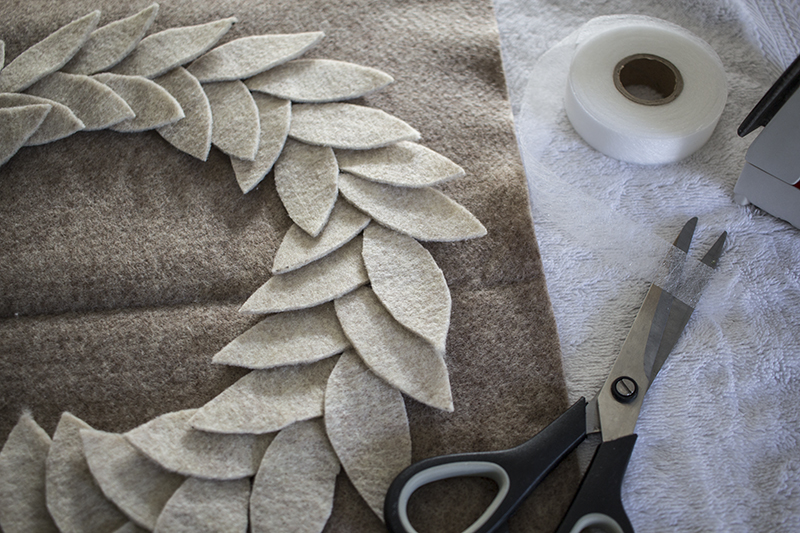 AKA Design Felt Wreath Pillow Attach Leaves Hem Tape BLOG PIC